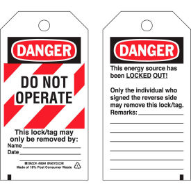 brady® 65525 lockout tag- danger do not operate,, heavy duty polyester, 25/pack Brady® 65525 Lockout Tag- Danger Do Not Operate,, Heavy Duty Polyester, 25/Pack