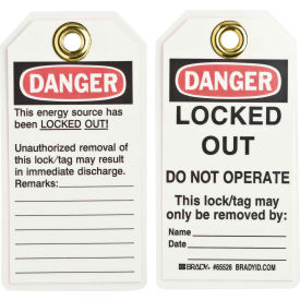 brady® 65526 lockout tag- danger locked out do not operate, heavy duty polyester, 25/pack Brady® 65526 Lockout Tag- Danger Locked Out Do Not Operate, Heavy Duty Polyester, 25/Pack