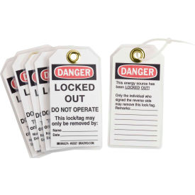 brady® 65527 lockout tag- danger locked out do not operate, 2 sided, cardstock, 25/pack Brady® 65527 Lockout Tag- Danger Locked Out Do Not Operate, 2 Sided, Cardstock, 25/Pack