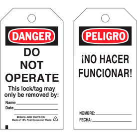 brady® 65670 lockout tag- danger do not operate, bilingual engligh/spanish, cardstock, 25/pack Brady® 65670 Lockout Tag- Danger Do Not Operate, Bilingual Engligh/Spanish, Cardstock, 25/Pack