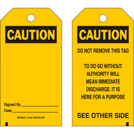 "brady® 76168 caution accident prevention tag, 2 sided, 25/pkg, polyester, 3""w x 5-3/4""h Brady® 76168 Caution Accident Prevention Tag, 2 Sided, 25/Pkg, Polyester, 3""W x 5-3/4""H"