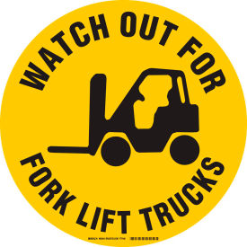 "brady® 92404 floor watch out for fork lift trucks sign, yellow/black, anit-skid, vinyl, 17""dia Brady® 92404 Floor Watch Out For Fork Lift Trucks Sign, Yellow/Black, Anit-skid, Vinyl, 17""Dia"