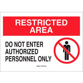 "brady® 95468 restricted area do not enter authorized personnel only sign, 14""w x 10""h Brady® 95468 Restricted Area Do Not Enter Authorized Personnel Only Sign, 14""W x 10""H"