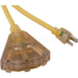 SL-741L Bayco; SL-741L, 50L Triple Tap Extension Cord w/ Lighted Ends, 14/3 GA, 15amp, Yellow