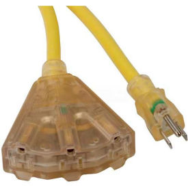 SL-748L Bayco; SL-748L, 100L Triple Tap Extension Cord w/ Lighted Ends, 12/3 GA, 15amp Yellow