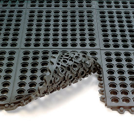 572.58x3x3GRBK Wearwell 24/Seven Anti-Fatigue Mat - All-Purpose Grease-Resistant Rubber - Drainage Tile - 3X3