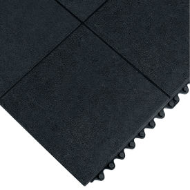 570.58x3x3GRBK Wearwell 24/Seven Anti-Fatigue Mat - All-Purpose Grease-Resistant Rubber - Solid Tile - 3X3