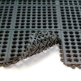 572.58x3x3CFRBK Wearwell 24/Seven Anti-Fatigue Mat - Cutting Fluid Resistant Rubber - Drainage Tile - 3X3