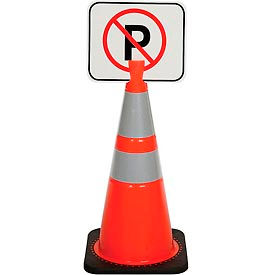 "03-550NP Cone Sign - No Parking, 13"" x 11"", Black on Orange, 1 Each"