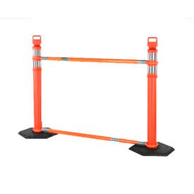03-824-CBKT & JYN6096 Retractable Cone Bar Barricade System, 2 Delineators, 2 Cone Bars, 2 10Lb Bases