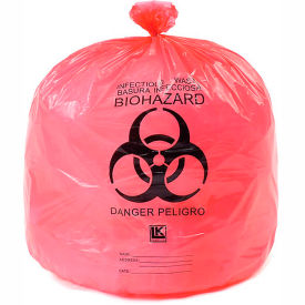 "HD15RE High Density Red Infectious Waste Liner, 13 Microns, 24"" x 30"", Pkg Qty 500"