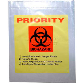 "reclosable 3-wall specimen transfer bag (biohazard), 12"" x 15"", yellow tint/priority, pkg qty 1000 Reclosable 3-Wall Specimen Transfer Bag (Biohazard), 12"" x 15"", Yellow Tint/Priority, Pkg Qty 1000"