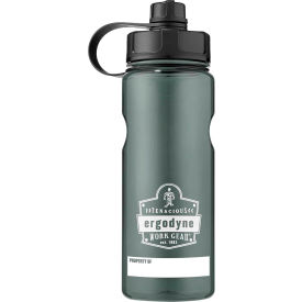 ergodyne chill-its® plastic wide mouth water bottle, 1 liter, gray, 13152 Ergodyne Chill-Its® Plastic Wide Mouth Water Bottle, 1 Liter, Gray, 13152