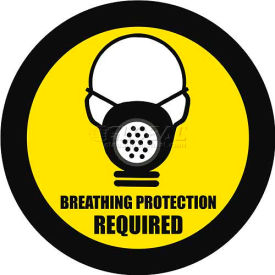 "durastripe 12"" round sign - breathing protection required Durastripe 12"" Round Sign - Breathing Protection Required"