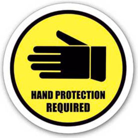 "durastripe 12"" round sign - hand protection required"