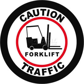 "durastripe 12"" round sign - caution forklift traffic Durastripe 12"" Round Sign - Caution Forklift Traffic"