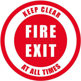 "durastripe 12"" round sign - fire exit keep clear at all times Durastripe 12"" Round Sign - Fire Exit Keep Clear At All Times"