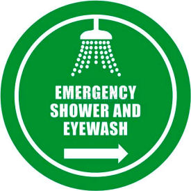 "durastripe 12"" round sign - emergency shower and eyewash Durastripe 12"" Round Sign - Emergency Shower And Eyewash"