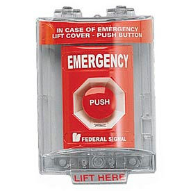 push station with sounder and cover, emergency, red Push Station With Sounder And Cover, Emergency, Red