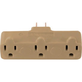 gogreen power, 3 outlet tri-tap rubber adapter, gg-03418beb, beige GoGreen Power, 3 Outlet Tri-Tap Rubber Adapter, GG-03418BEB, Beige