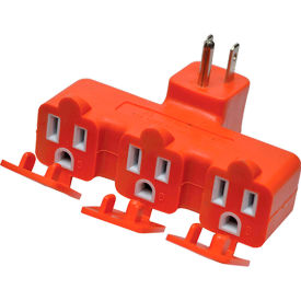 gogreen power 3 outlet tri-tap adapter with covers, gg-03431or - orange GoGreen Power 3 Outlet Tri-tap adapter with covers, GG-03431OR - Orange