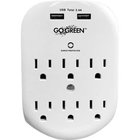gogreen power 6 outlet wall tap with 2 usb ports, 490 joules, gg-16000usb - white GoGreen Power 6 Outlet wall tap with 2 USB ports, 490 joules, GG-16000USB - White