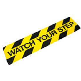 "Heskins ""Watch Your Step"" Anti Slip Stair Tread, Black/Yellow, 6"" x 24"""