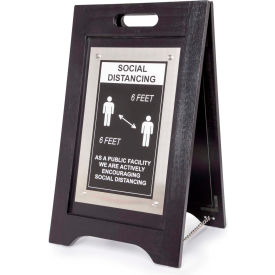 hospitality 1 source social distancing at public facility a-frame sign, black finish, 14w x 24h