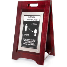 hospitality 1 source social distancing at public facility a-frame sign, walnut finish, 14w x 24h