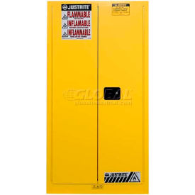 896200 Justrite Drum Storage Cabinet 55 Gallon Manual Close Vertical Flammable Yellow