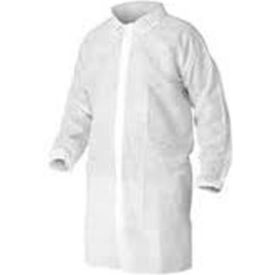 LC0-WE-NW-HD-SM HD Polypropylene Lab Coat, No Pockets, Elastic Wrists, Snap Front, Single Collar, White, S, 30/Case