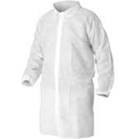 LC0-WE-NW-XL Polypropylene Lab Coat, No Pockets, Elastic Wrists, Snap Front, Single Collar, White, XL, 30/CS