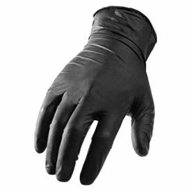 GNX-1KM Ni-Flex GNX-1K Industrial Grade Disposable Nitrile Gloves, Powder-Free, Black, Medium, 100/Box