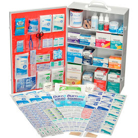 GEQU734ANSISK Global Industrial First Aid Kit - 4 Shelf Steel Cabinet, ANSI Compliant, 100-150 Person
