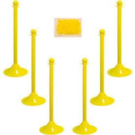 "71002-6 Plastic Stanchion Kit - Yellow - 6pk 50 of 2"" Chain W/ C-Hooks Incl. - 2"" Pole, 14"" Base, 41""H"