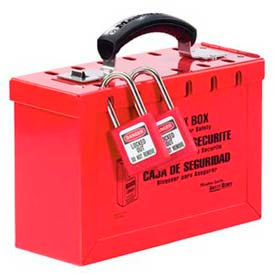 498A Master Lock; Latch Tight; Group Lock Box, Portable, Red, 498A