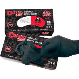 NG-8003 Defend; Blackjack Medical/Exam Textured Nitrile Glove, Powder-Free, Black, S, 100/Box, NG-8003