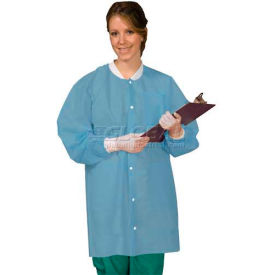 SG-3660CBL Defend Plus Disposable Lab Coat Ciel Blue, L, 10/Pkg, SG-3660CBL
