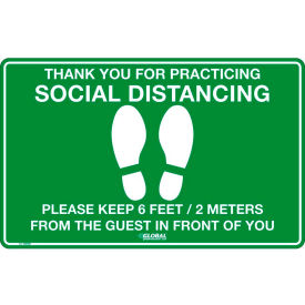 "global industrial™ green social distancing floor sign ,16"" w x 10"" h,  vinyl adhesive Global Industrial™ Green Social Distancing Floor Sign ,16"" W x 10"" H,  Vinyl Adhesive"