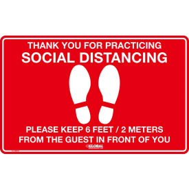 "global industrial™ red social distancing floor sign, 16"" w x 10"" h, vinyl adhesive Global Industrial™ Red Social Distancing Floor Sign, 16"" W x 10"" H, Vinyl Adhesive"