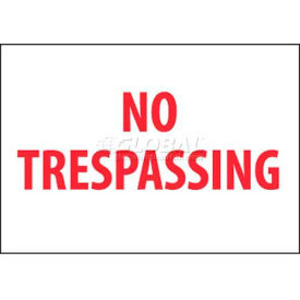 "nmc m58rb security sign, no trespassing, 10"" x 14"", white/red NMC M58RB Security Sign, No Trespassing, 10"" X 14"", White/Red"