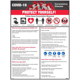 "covid-19 protect yourself poster, 18"" x 24"", synthetic paper COVID-19 Protect Yourself Poster, 18"" X 24"", Synthetic Paper"