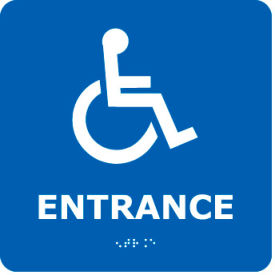 ADA17WBL Graphic Braille Sign - Entrance - Blue