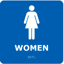 ADA2WBL Graphic Braille Sign - Women - Blue