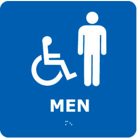 ADA4WBL Graphic Braille Sign - Men - Blue