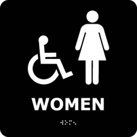 ADA5WBK Graphic Braille Sign - Women - Black