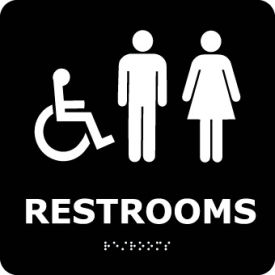 ADA9WBK Graphic Braille Sign - Restrooms - Black