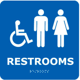 ADA9WBL Graphic Braille Sign - Restrooms - Blue