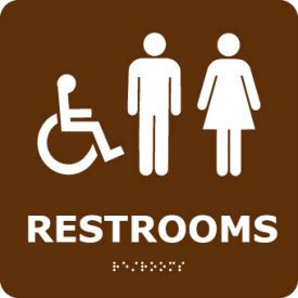 ADA9WBR Graphic Braille Sign - Restrooms - Brown