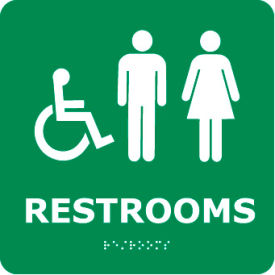 ADA9WGR Graphic Braille Sign - Restrooms - Gray